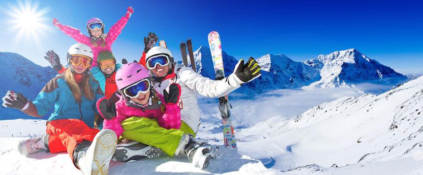 Family Having Fun Skiing