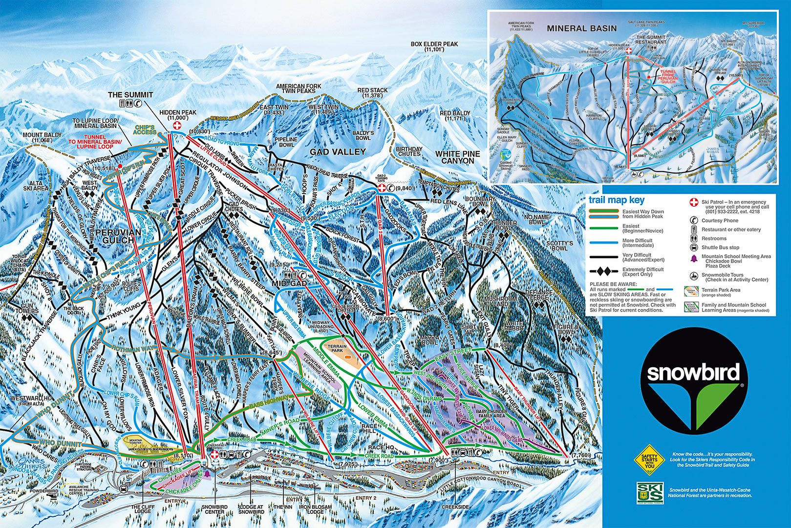 Overview Of Snowbird Utah SnowPak - Us ski resorts map