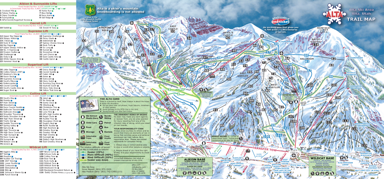 Alta Ski Map Best of Alta Ski Resort 2019/20 | Packages & Top Tips   SnowPak