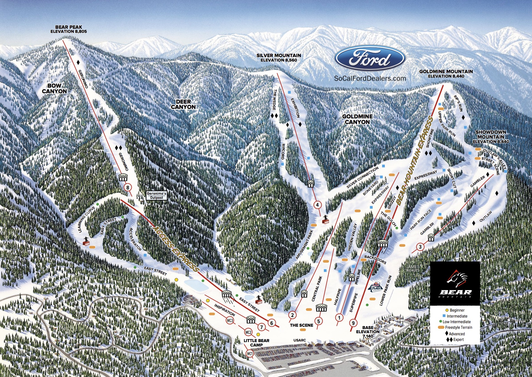 Bear Mountain Map Best of Bear Mountain 2019/20 | Packages & Top Tips   SnowPak