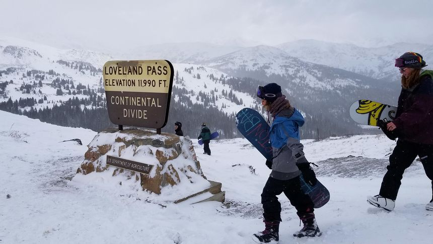Backcountry snowboarders at Loveland Pass Continental Divide sign
