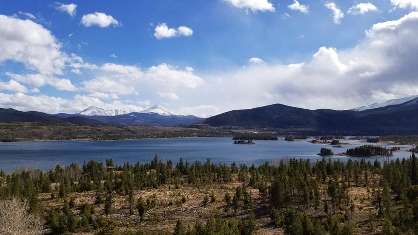 View of Dillon Reservoir from I-70