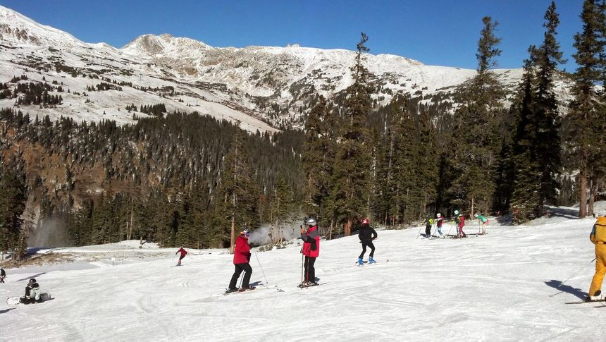early season skiing at Loveland ski area Colorado