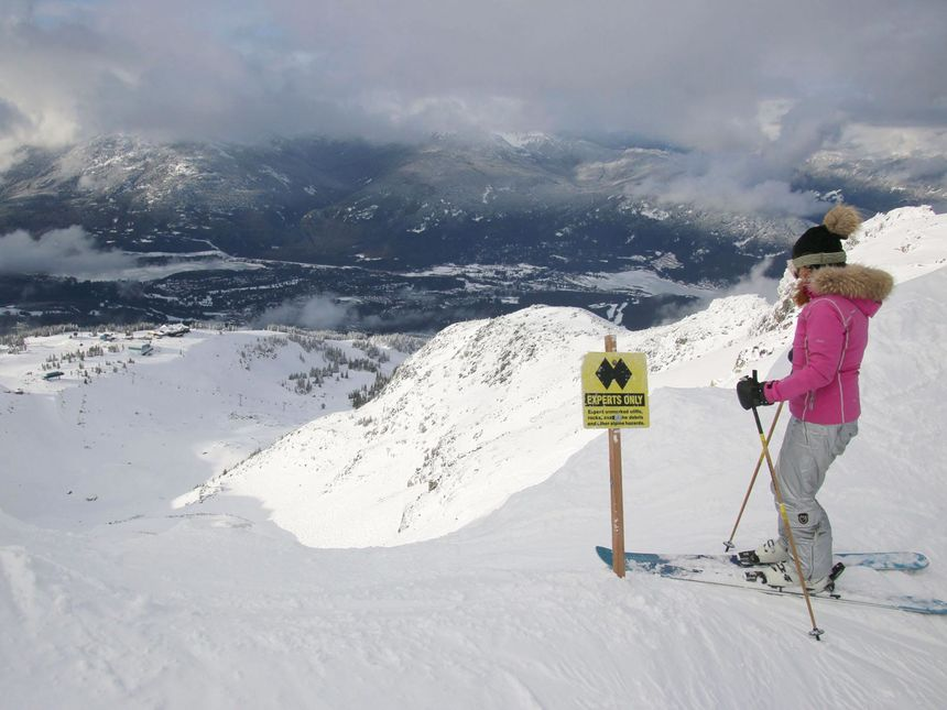 Whistler Blackcomb double diamond expert terrain warning sign