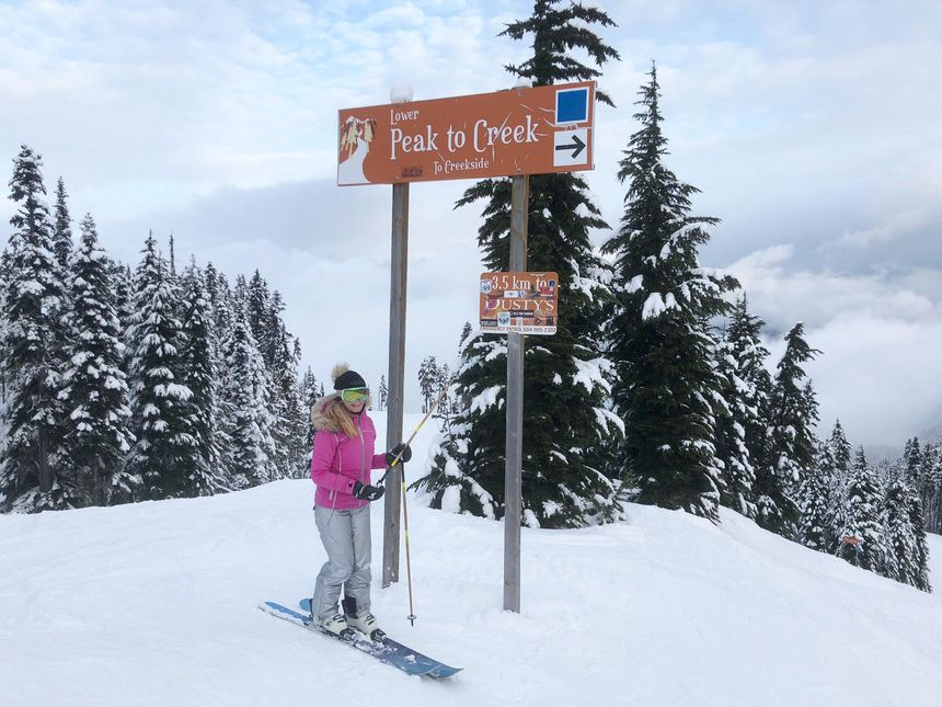 ski peak to creek trail sign Whistler Blackcomb