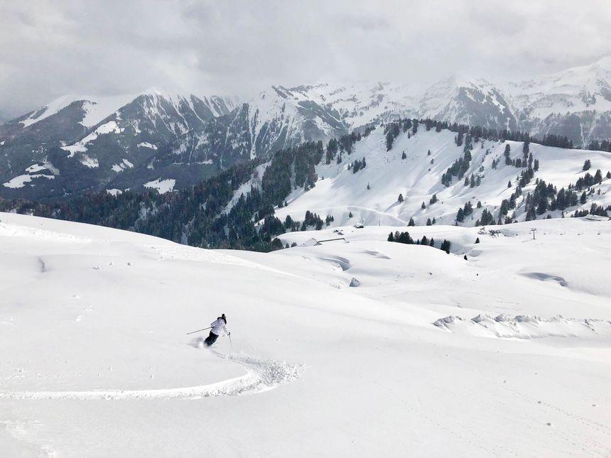 powder skiing fresh tracks Champoussin Portes du Soleil