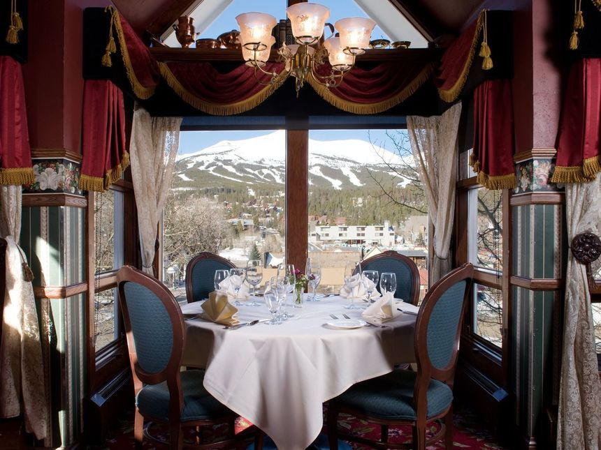 Breckenridge dining with a gorgeous view of the mountain