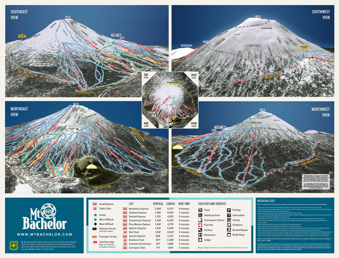 Mount Bachelor Trail Map