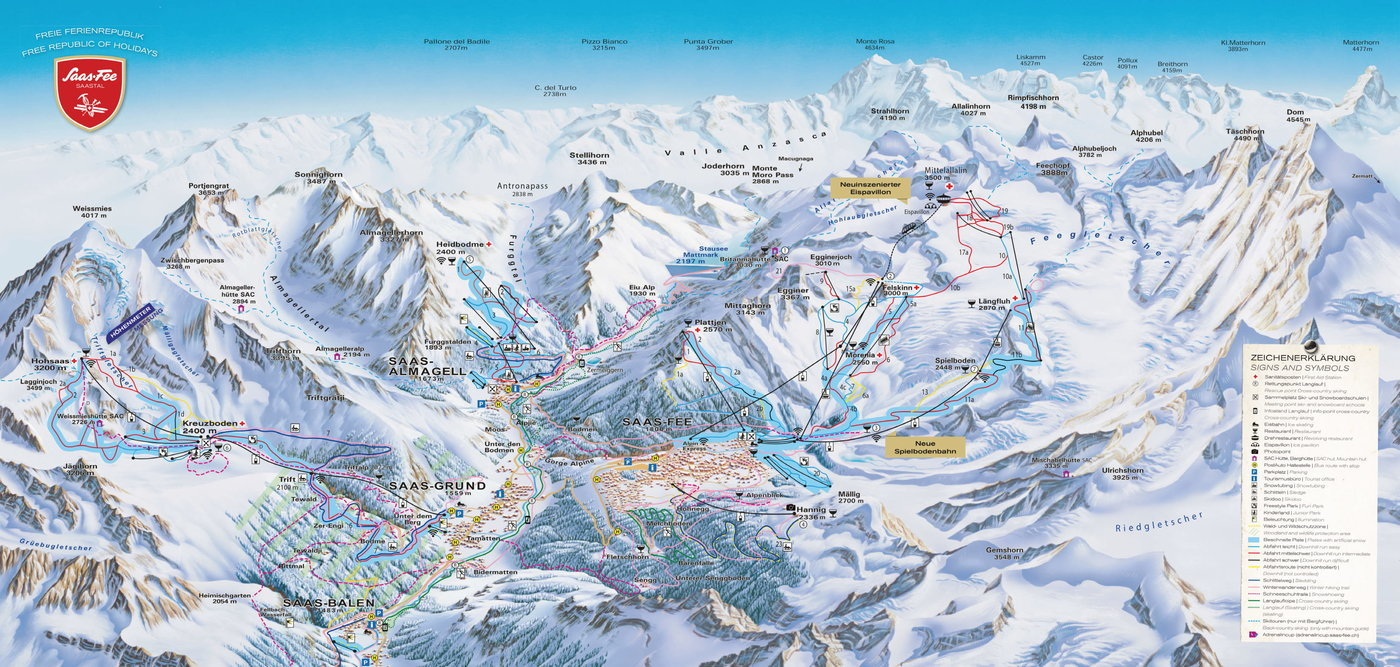 Saas-Fee Trail Map