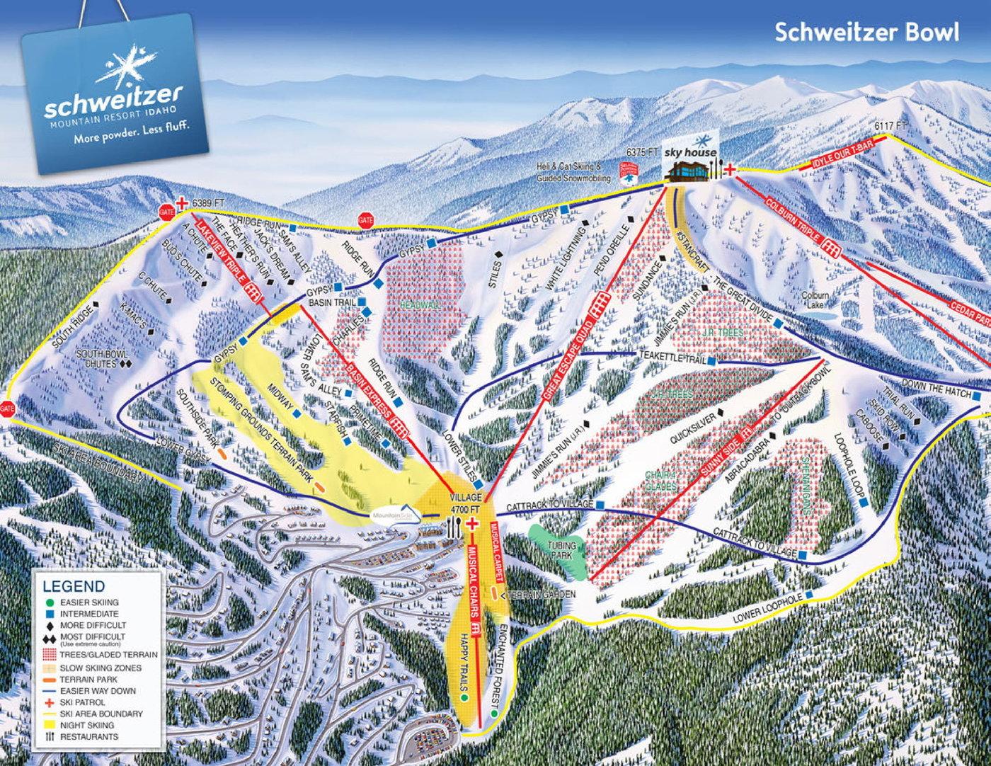 Schweitzer Mountain Resort Trail Map