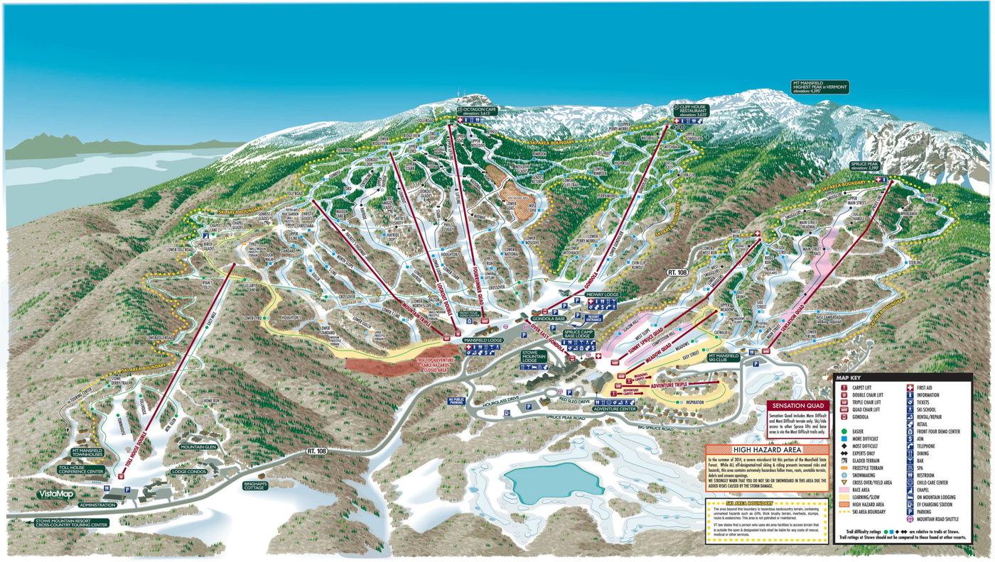 Stowe Mountain Resort Trail Map