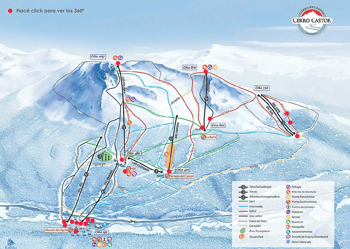 Cerro Castor Trail Map