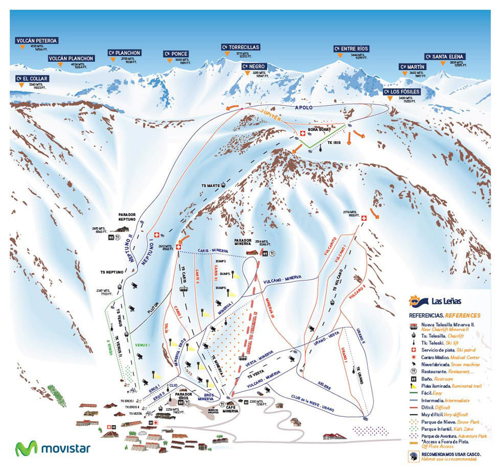 Las Leñas Trail Map