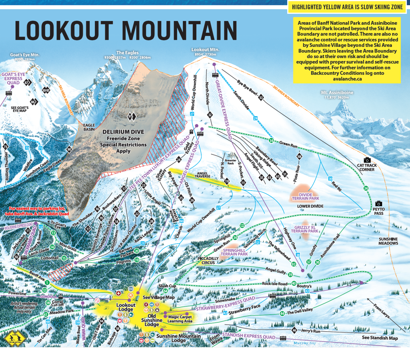 Banff Sunshine Trail Map