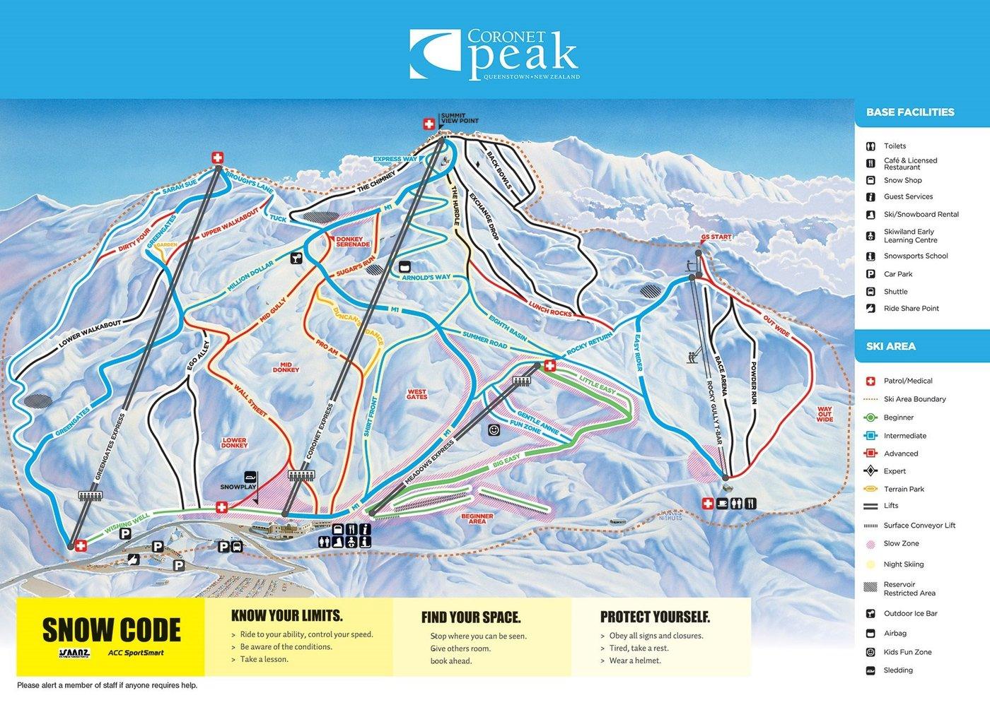 Coronet Peak Trail Map