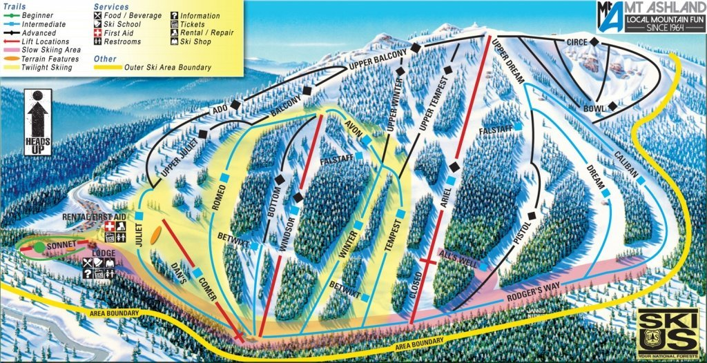 Mount Ashland Trail Map