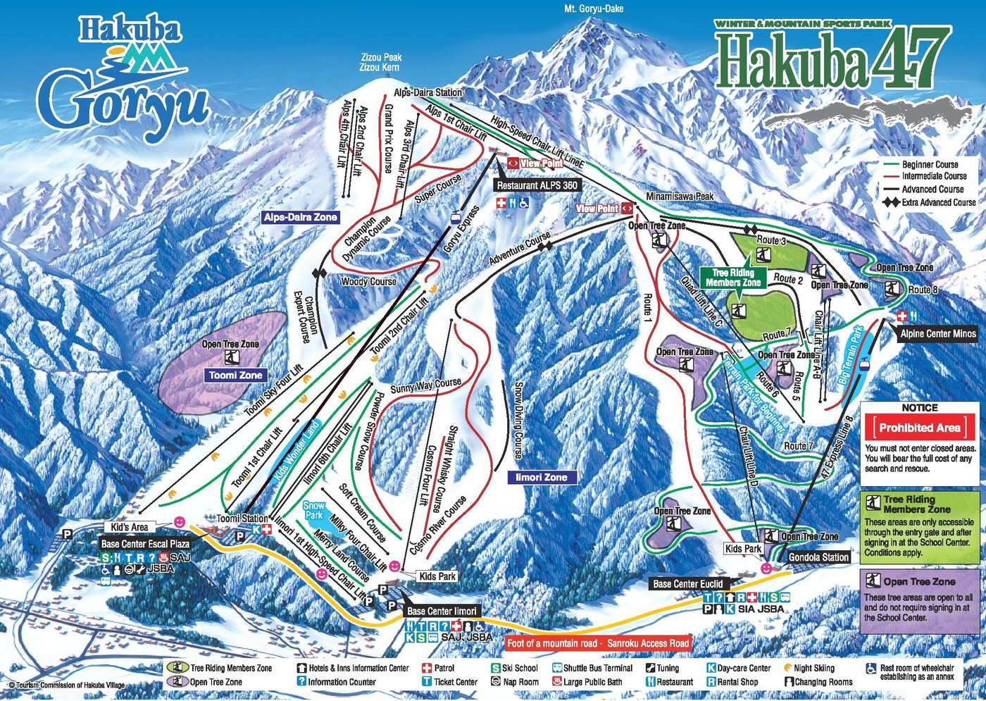 Hakuba 47 & Goryu Trail Map